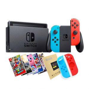 Nintendo Switch Neon + Juego a elección + Mica de Vidrio + Siliconas protectoras