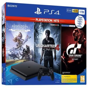 Playstation 4 Slim 1 TB Hits Bundle ( Horizon + Uncharted 4 + Gran Turismo + GTA V)
