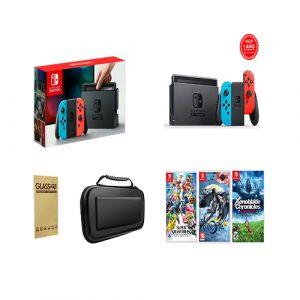 Nintendo Switch Neon + 1 Juego a elección + Mica de vidrio + Bolso